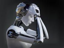 het 3D teruggeven van vrouwelijke robot die nr 2 schreeuwen royalty-vrije illustratie