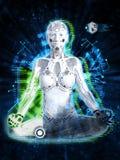 het 3D teruggeven van vrouwelijke robot die, technologieconcept mediteren royalty-vrije stock foto