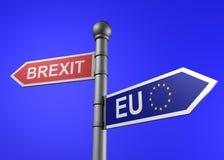 het 3d teruggeven van wegwijzer de brexit-EU Royalty-vrije Stock Foto's