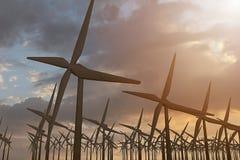 het 3D teruggeven van windmolens die energie in de avond veroorzaken stock afbeelding