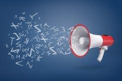 het 3d teruggeven van witte en rode megafoon op een blauwe achtergrond met velen klinkt en brieventekens die uit het vliegen vector illustratie