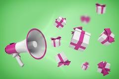 het 3d teruggeven van witte en violette megafoon hangt op een groene achtergrond met vele giftdozen die uit van het vliegen royalty-vrije illustratie