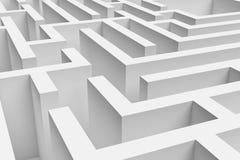 het 3D teruggeven van witte vierkante benaderde labyrintconsruction Stock Afbeeldingen
