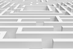 het 3D teruggeven van witte vierkante benaderde labyrintconsruction Stock Fotografie