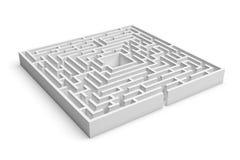 het 3d teruggeven van witte vierkante labyrintconsruction met een ingang op witte achtergrond Stock Foto's