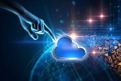 het 3d teruggeven van Wolk het pictogram van het gegevensverwerkingssysteem op technologiebac Royalty-vrije Stock Fotografie