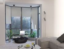 het 3d teruggeven van woonkamer met panoramische vensters vector illustratie