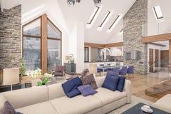 het 3D teruggeven van woonkamer van chalet Royalty-vrije Stock Foto