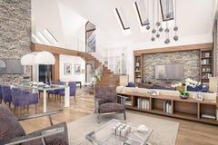 het 3D teruggeven van woonkamer van chalet Royalty-vrije Stock Afbeeldingen