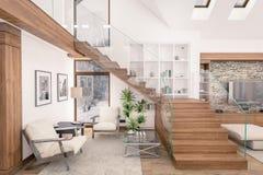 het 3D teruggeven van woonkamer van chalet Stock Fotografie