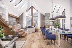 het 3D teruggeven van woonkamer van chalet Stock Afbeeldingen