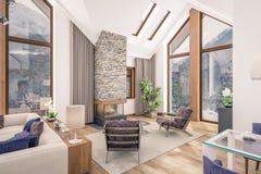 het 3D teruggeven van woonkamer van chalet Stock Foto