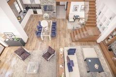 het 3D teruggeven van woonkamer van chalet Royalty-vrije Stock Afbeelding