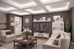 het 3D teruggeven van woonkamer van een klassieke flat Royalty-vrije Stock Afbeeldingen