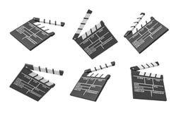 het 3d teruggeven van zes zwarte filmclapperboards met lege lijnen voor de titel en de scheppers van een film Stock Illustratie