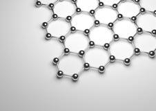 het 3D Teruggeven van Zilveren Graphene-Oppervlakte Stock Afbeeldingen