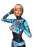 het 3D Teruggeven Vrouwelijke Cyborg op Wit Stock Foto