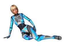 het 3D Teruggeven Vrouwelijke Cyborg op Wit Royalty-vrije Stock Fotografie