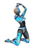 het 3D Teruggeven Vrouwelijke Cyborg op Wit Royalty-vrije Stock Afbeeldingen