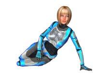 het 3D Teruggeven Vrouwelijke Cyborg op Wit Stock Fotografie