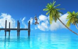 het 3D vrouwelijke springen van een pier in het overzees vector illustratie