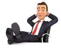 het 3d zakenman ontspannen met voeten omhoog op zijn bureau vector illustratie