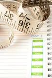 Het dagboek van het dieet Stock Foto