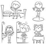 Het dagelijkse Leven van de Meisjes van de Ochtend royalty-vrije illustratie