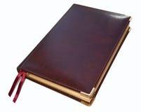 Het dagelijkse logboek van een bruin echt leer op wit Stock Afbeeldingen