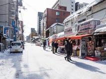 Het dagelijkse ochtendleven in Sapporo Royalty-vrije Stock Afbeelding