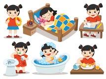 Het dagelijkse werk van Aziatisch meisje op een witte achtergrond stock illustratie