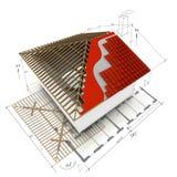 Het dak 3D ontwerp van het huis Stock Afbeelding