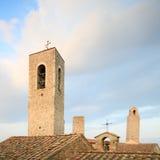 Het dak en de torens van San Gimignano. Toscanië, Italië. Stock Afbeeldingen