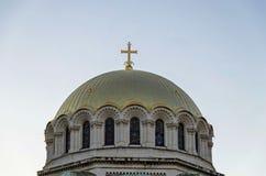 Het dak met campanile van St Alexander Nevsky Cathedral in Sofia Stock Afbeelding