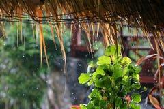 Het dak van de bamboehut, paraplu's en regenachtig op het strand Royalty-vrije Stock Foto's