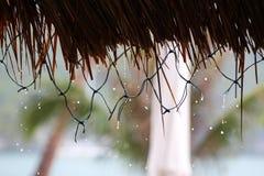 Het dak van de bamboehut, paraplu's en regenachtig op het strand Royalty-vrije Stock Fotografie