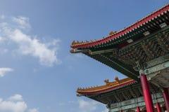 Het dak van een traditioneel gebouw in Taipeh Taiwan Royalty-vrije Stock Foto's