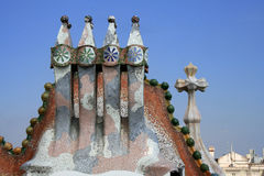 Het dakfragment van Batllo van Casa door Antoni Gaudi. Royalty-vrije Stock Afbeelding