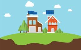 Het dakhuis van het Solarcityzonnepaneel Royalty-vrije Stock Afbeeldingen