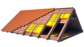 Het dakstructuur van het huis in aanbouw op wit