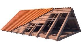 Het dakstructuur van het huis in aanbouw op wit Stock Afbeelding