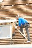Het dakwerkwerk met flex dak stock fotografie