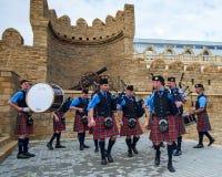 Het Dal van Atholl Pipeband in Baku Royalty-vrije Stock Afbeeldingen