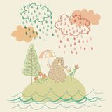 Het Dalende beeldverhaal van de Regenpastelkleur royalty-vrije illustratie