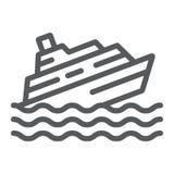 Het dalende pictogram van de schiplijn, ramp en water, het teken van de bootcatastrofe, vectorafbeeldingen, een lineair patroon o vector illustratie