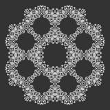 Het damast Wallpaper Het ornament van het cirkelkant, rond sier geometrisch doily patroon, de decoratie van de Kerstmissneeuwvlok Royalty-vrije Stock Afbeeldingen
