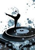 Het dansen Balerina op vinyl Royalty-vrije Stock Afbeelding