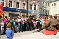 Het dansen bij de Victory Day-viering in Moskou Stock Foto