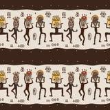 Het dansen cijfers die Afrikaanse maskers dragen. stock illustratie