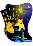 Het dansen in de regen royalty-vrije illustratie